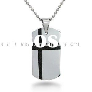 Tungsten Pendant with Black Carbon Fiber Accent on 22 Inch Chain