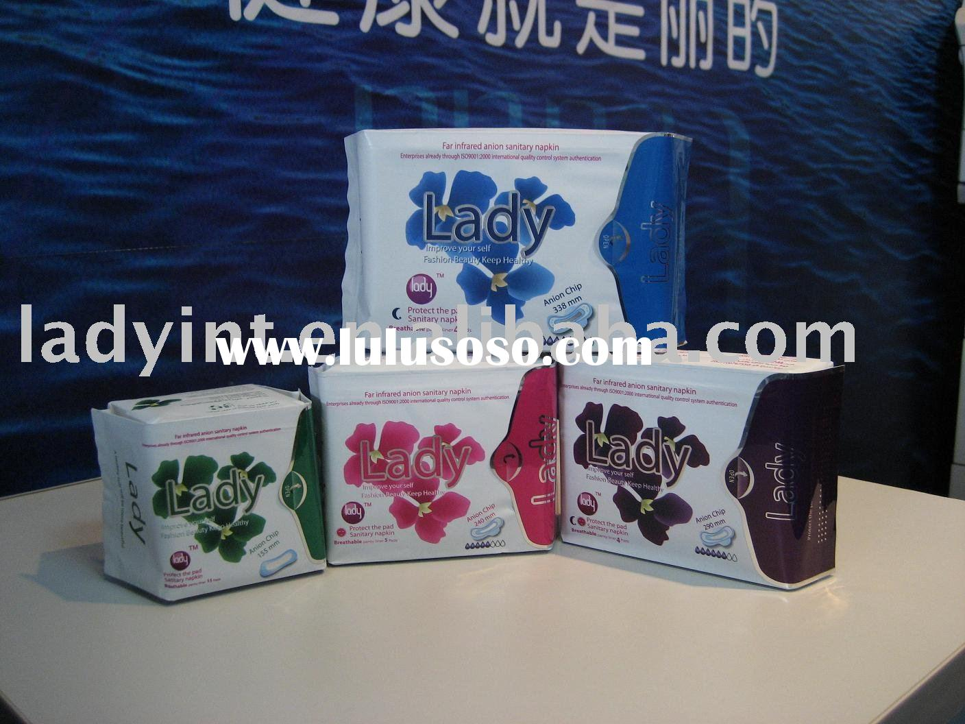 sanitary towel with far-infrared anion chip good for health(FDA,MSDS,CE,PATENT,ISO9001)