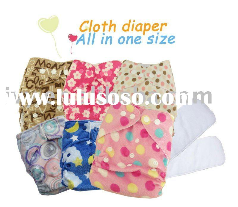 Moq 50pcs Minky Baby cloth diaper /one nappy +2 insert