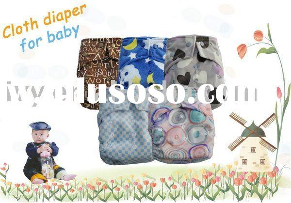 moq 50pcs Minky Baby cloth diaper with 2 raw snap button/one nappy +2 insert