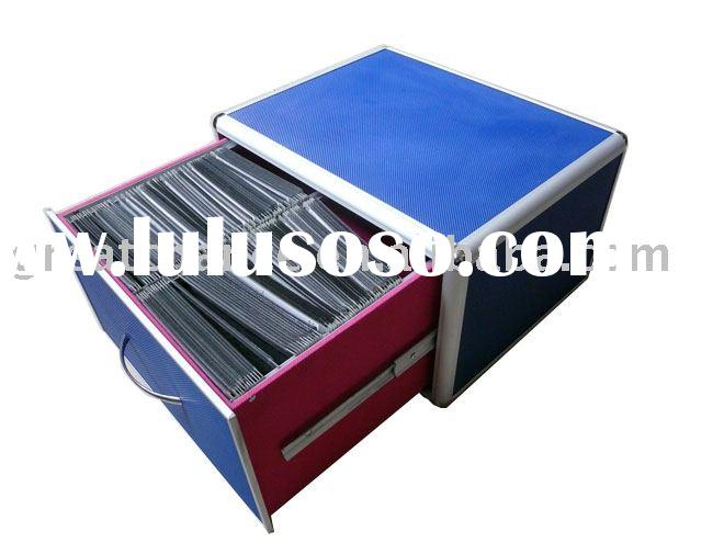 Blue Aluminum 300 CD DVD Storage Case w/ drawer Box DJ