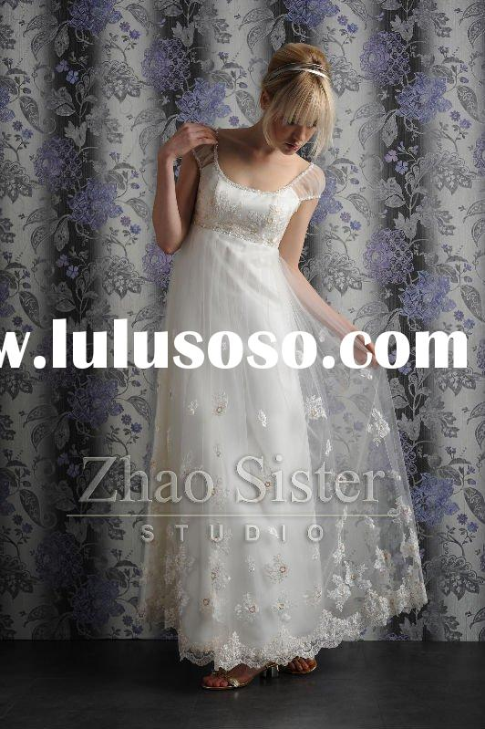 Jewel and cap sleeves lace wedding dress