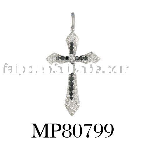 18 carat gold with diamond paved cross pendant