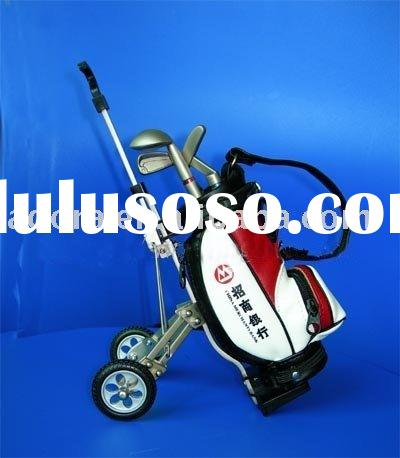 3 Golf Club Pens with miniature Golf cart Pen holder and clock