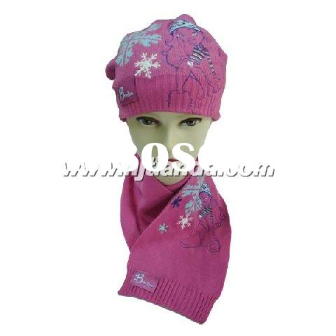 100% acrylic knitted children's hat and scarf  set
