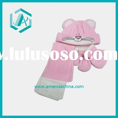 Animal Design Plush Hat Scarf Glove Set