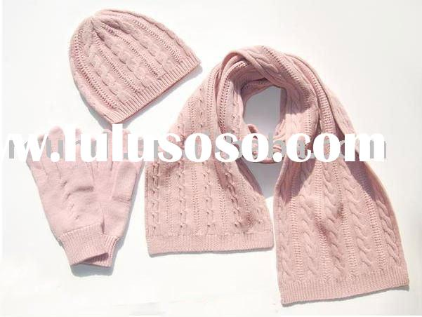 Cute knitted scarf hat glove set