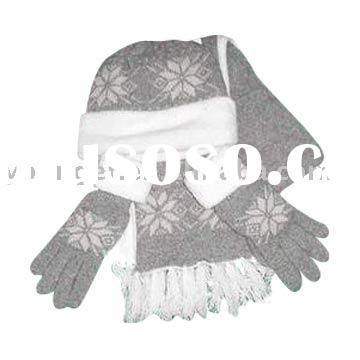 Knitted beanie Scarf and Gloves set