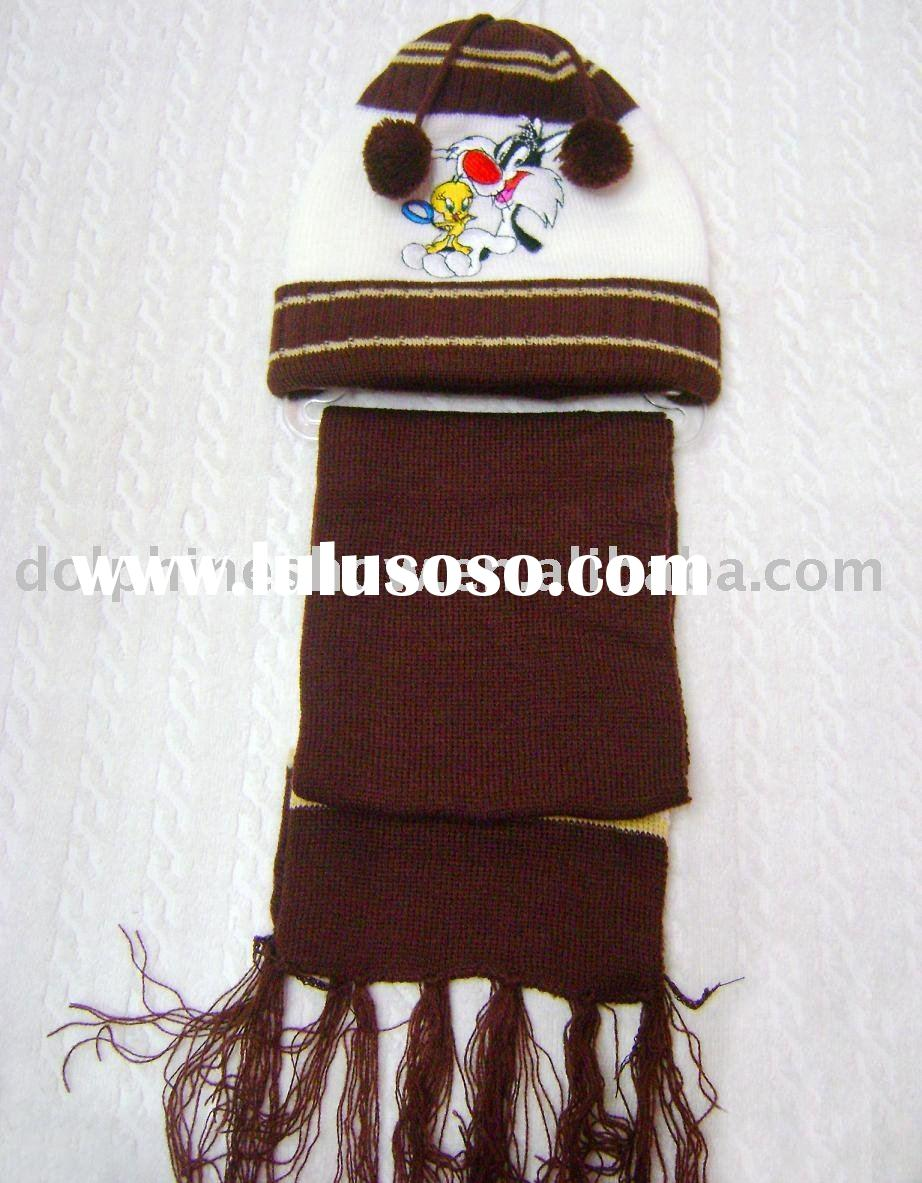 Knitted scarf and hat set for kids