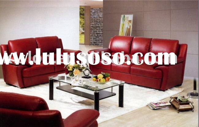Leather living room furniture in red