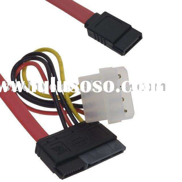 SATA Flat Cable W-4pin Wire Harness 7pin Connector +15pin Connector