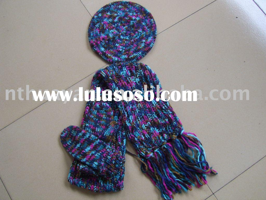 Women's fashion hat gloves&scarf set
