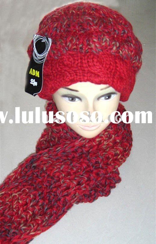 Wool Hat and Scarf Set,Winter Accessory