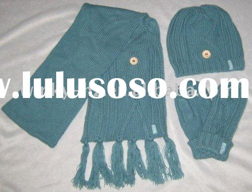 cable knitted scarf ,hat&glove set