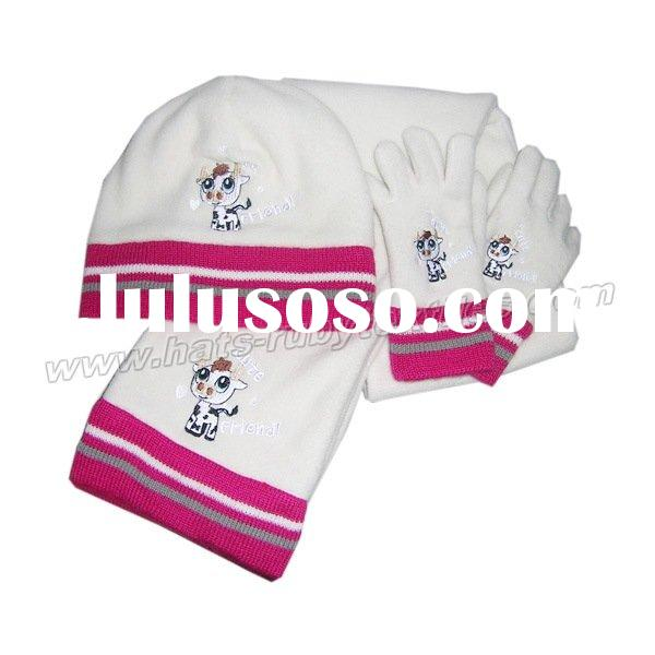 children's fleece set,hat,scarf and gloves