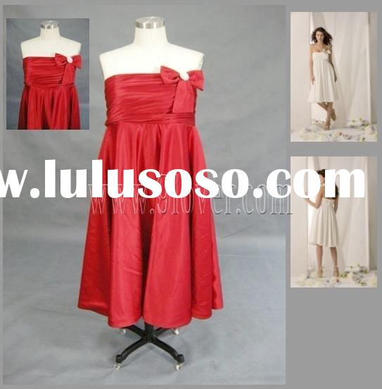 Red Knee Length Satin Prom Dresses/Bridesmaid DressReal Work 013