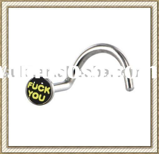 Body Piercing jewelry, Surgical Steel Logo Nose Ring