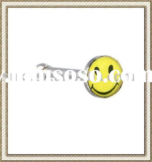 Body Piercing jewelry, Surgical Steel Yellow SMILEY FACE Logo Nose Ring