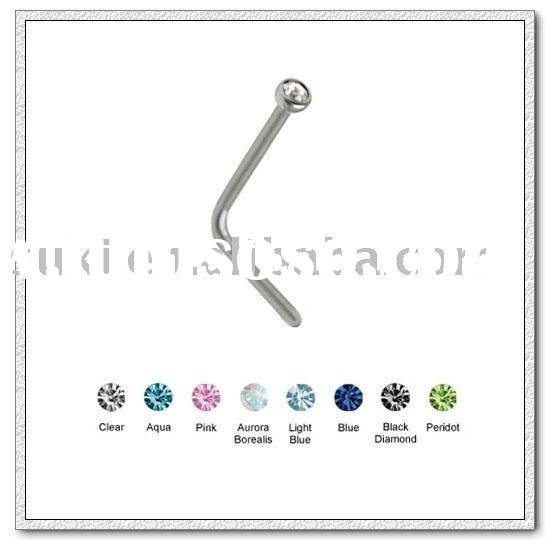Body jewelry,316L Surgical Steel L-Bend Nose Stud with Press Fit Stone