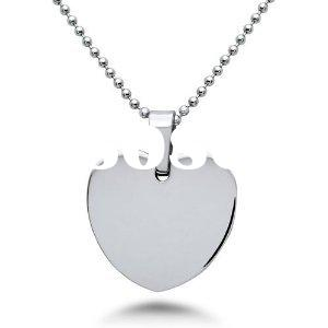Engravable Charm Stainless Steel Heart Pendant Necklace