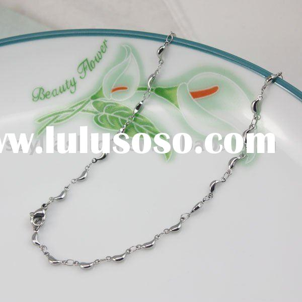 New fashion wholesale 316L Stainless Steel Necklace little O cross beads Chain Jewelry SC008