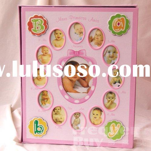 Pink Baby First Year Album & Frame comes in a colored bottom gift box