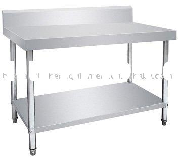 Stainless Steel 2-tier Work Table with backsplash/Kitchen Equipment