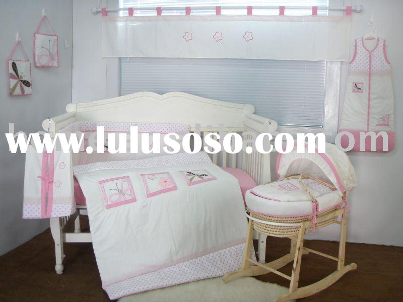 European lovely pink baby bedding set for girl