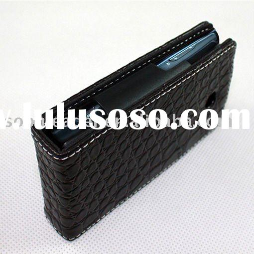 Flip leather case with plastic holder inside for sony ericsson Xperia X10