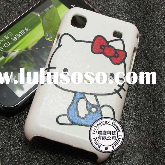 Hello Kitty Case Skin For Samsung Galaxy S i9000 ,leather feel PLASTIC HARD CASE