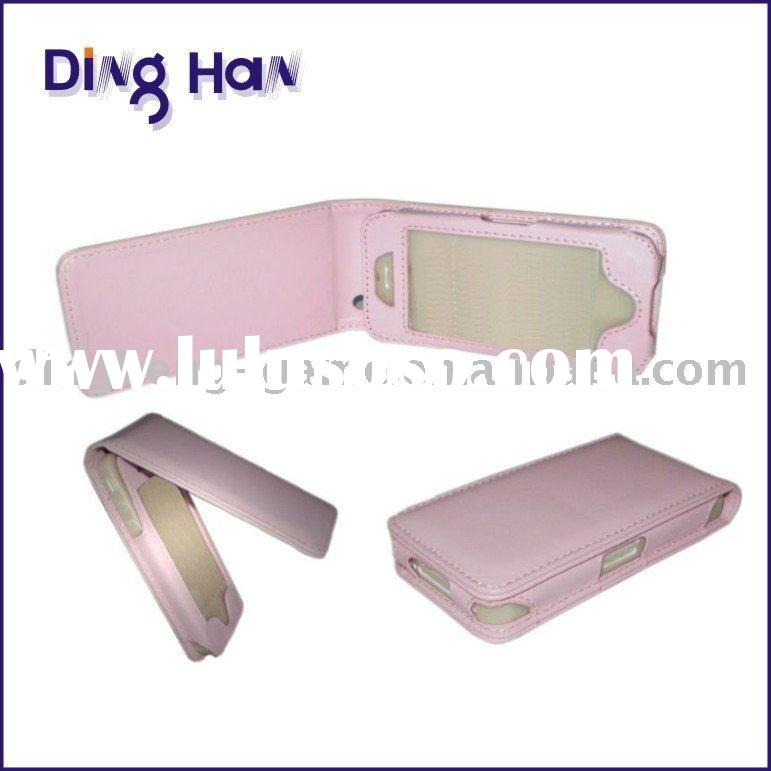Pink mobile phone Leather case for iphone 4g