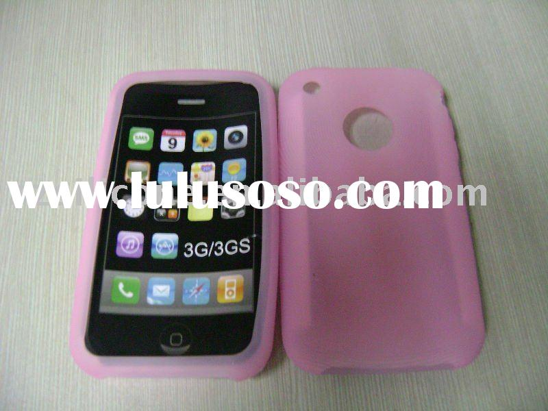 pink silicone leather phone case for iphone 3g