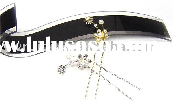 HF0715-37 alloy hair fork with crystal
