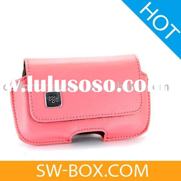 Leather Case Horizontal Swivel Holster For BlackBerry Bold 9000 (Pink) /cell phone case clip
