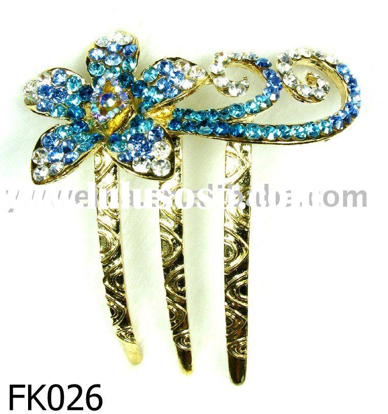 alloy hair forks with rhinestones