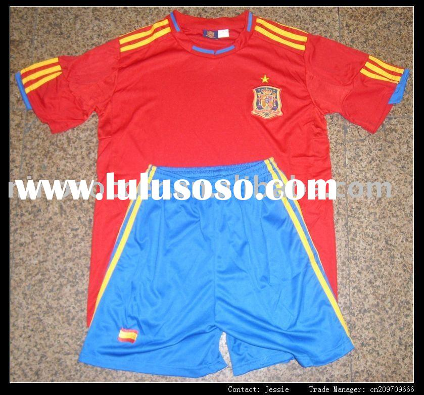 100% polyester spain kids soccer jersey with one champion star