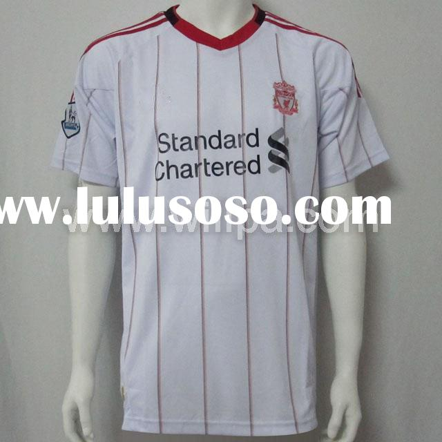 10-11 Liverpool Away White Football Embroidery Logo 100% Polyester Climacool Jersey