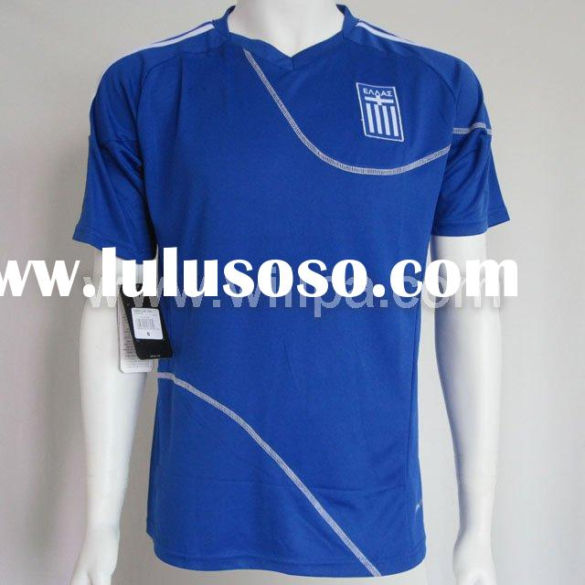 2010 National Team Greece Embroidery Logo 100% Polyester Away Blue Soccer Shirt