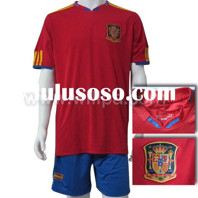 2010 New Spain Home Red Soccer T Shirt ( embroidered logo accept paypal )