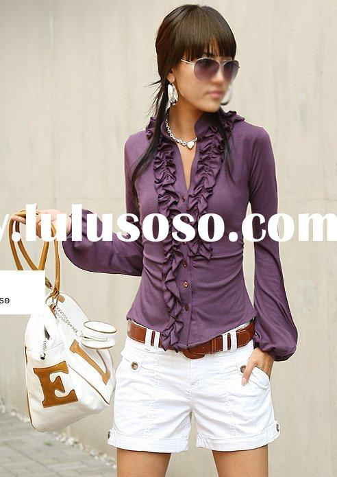 2010  new arrival long sleeve falbala shirt fashion blouse(purple)