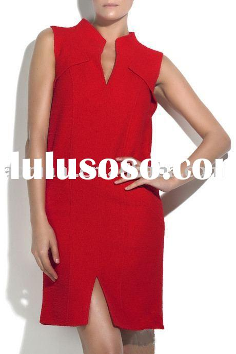 2011 newest  fashion v-neck sleeveless bright red one piece women dresses