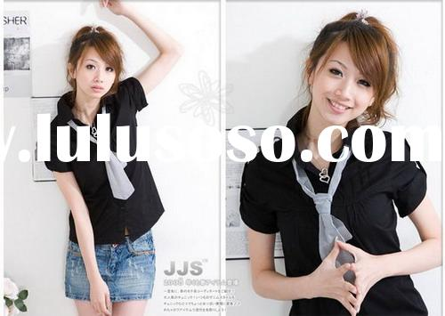 Blouse/ T-shirt   lapel plus necktie single breasted short sleeve black cotton lady dress Z8082028