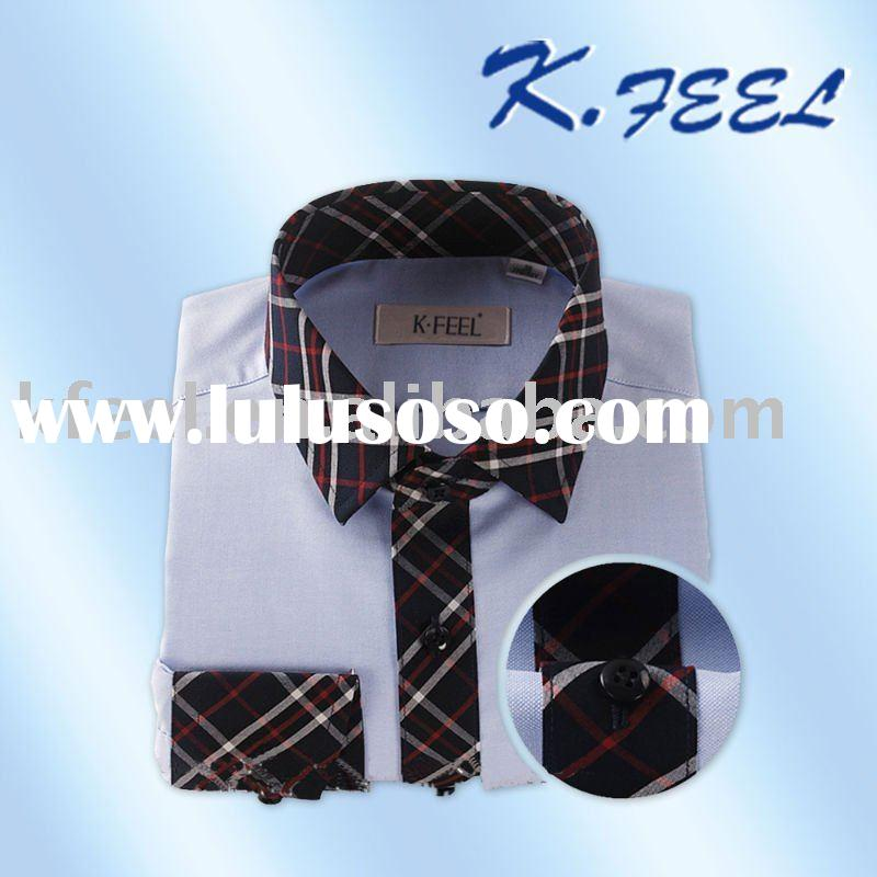 Check Collar Men's White Dress shirt