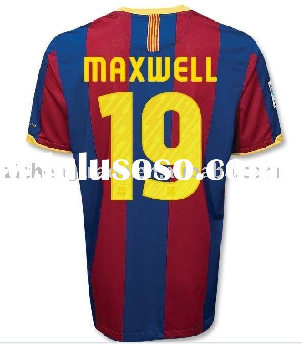 Hot Barcelona 10/11 Home Soccer Football Shirts Maxwell 19 With Custom Design