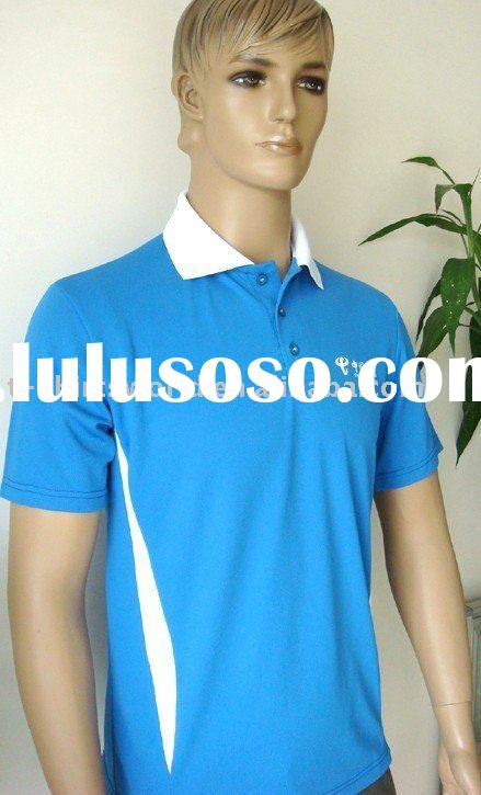Men's Cheap 100% Polyester Polo Shirts with Logo Print