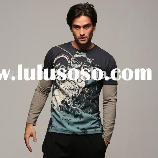 Men's Cotton Fashion Brand Sports Promotional T-shirt with Chest Print and Rib Collar