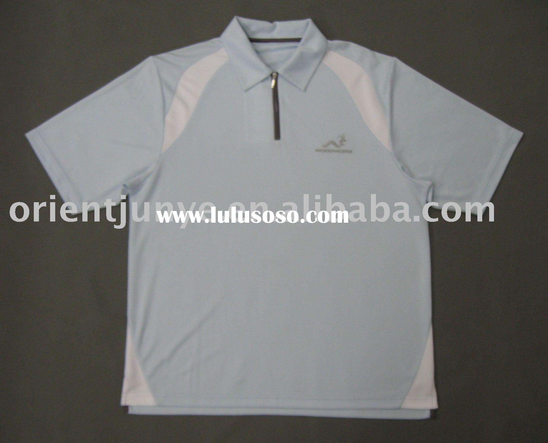Men's jacquard polo shirt, quarter zipper, chest logo embroidery