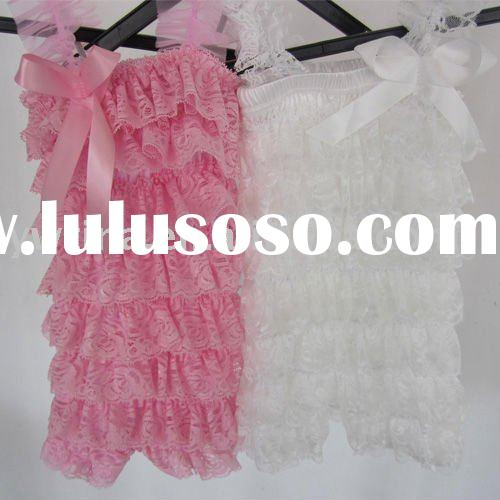 Pink/white Ruffle Lace Posh Petti Rompers with straps and bow for Girls