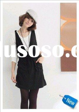 Two Pieces Long Sleeve T-shirt and V-Collar Dress Black