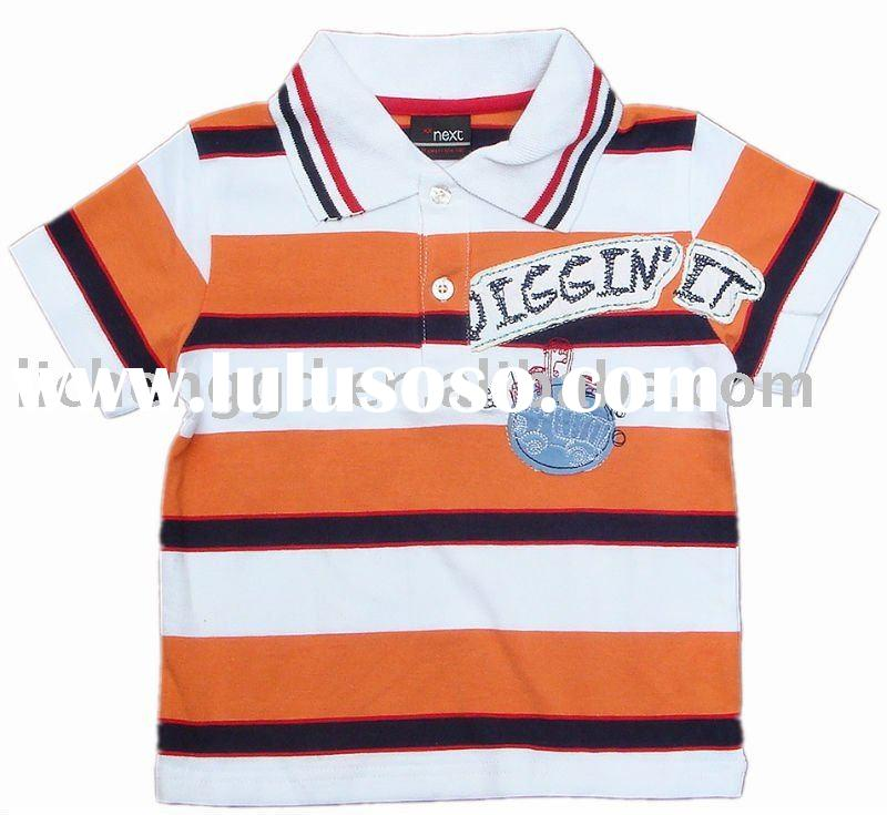 boy's polo shirt/baby'swear10239# orange/white stripes